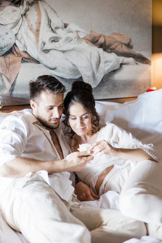 Couple Boudoir Photography Breakfast in Bed at Imaret Hotel Kavala