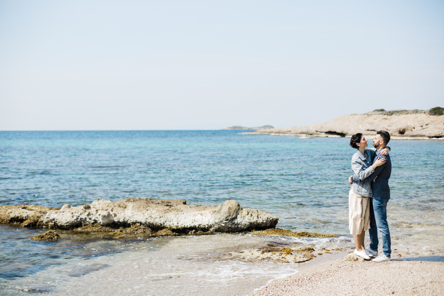 A couple shooting at a secret beach in Athens
