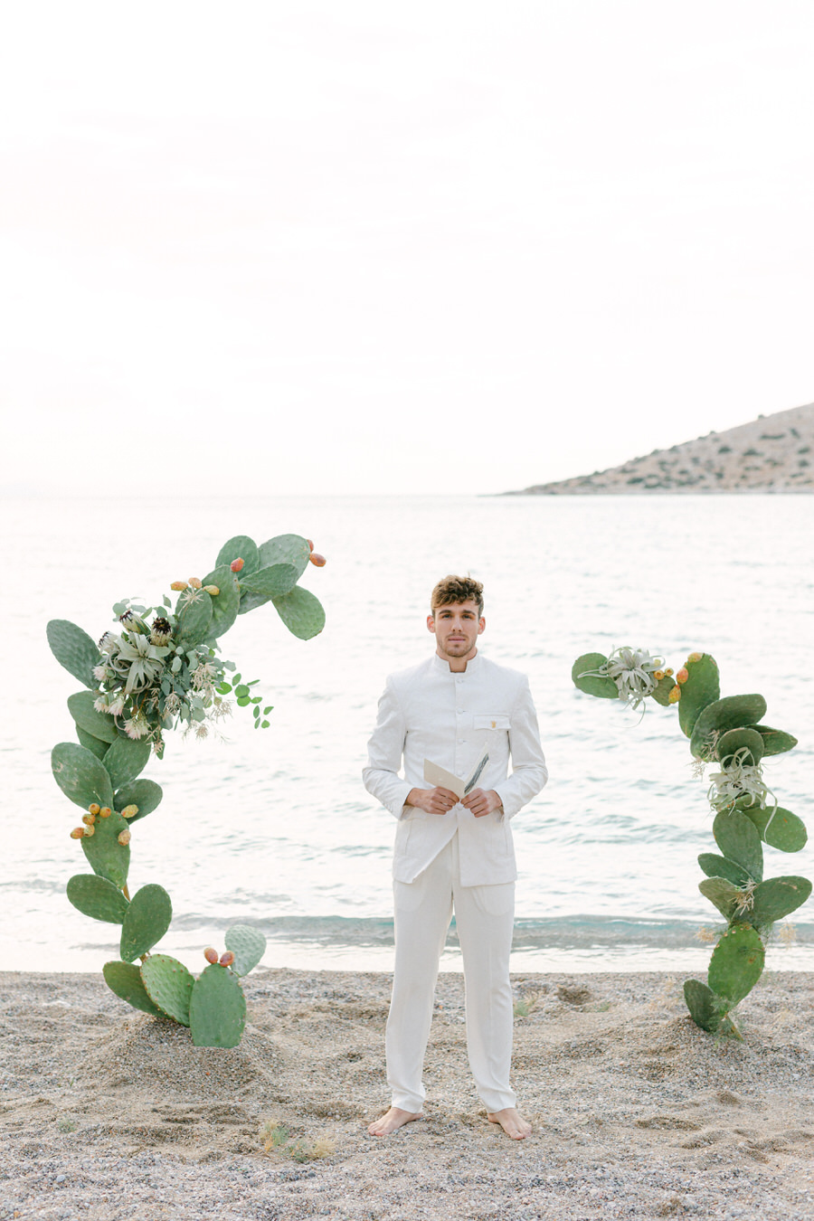 Airplants and Coral Sculpture Wedding at Athens Riviera by Fiorello Photography